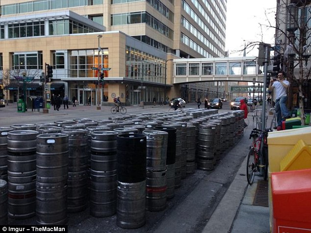 According to the uploader, this was the number of beer kegs delivered to a single bar in Minneapolis ahead of St Patrick's Day celebrations