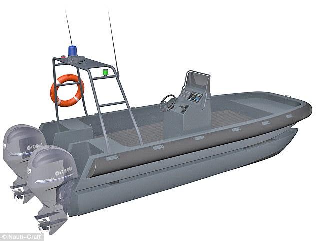 Embarcation type Etraco, version Nauti-Craft. On distingue les coques dissociées équipées chacune d'un moteur (Image Nauti-Craft).