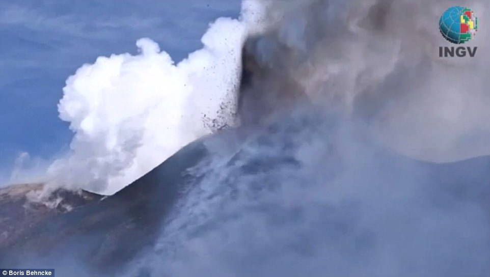 Lava flow mixed with steam caused a huge explosion around lunchtime on Mount Etna on Thursday