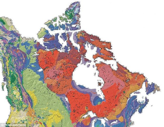 Scientists found isotopic evidence of the 'parent rocks' of 2.7 billion-year-old samples from the Canadian Shield (shown in shades of red), suggesting Earth's oldest crust survived the formation of this continental feature