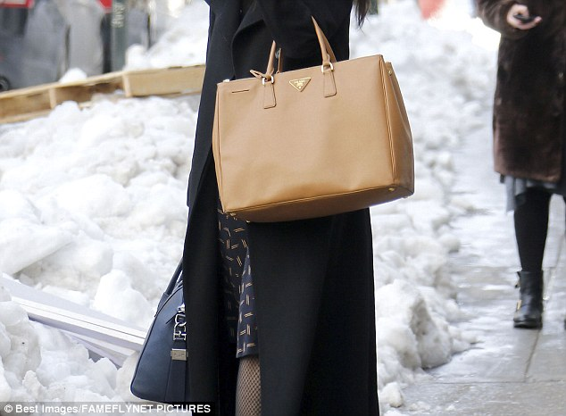 Bag lady: Hillary's top aide did not get a cut or color and seemed to be there for work, as she was seen carrying her boss' $2500 bag (left in blue) in addition to her own $2600 tote (right in tan)