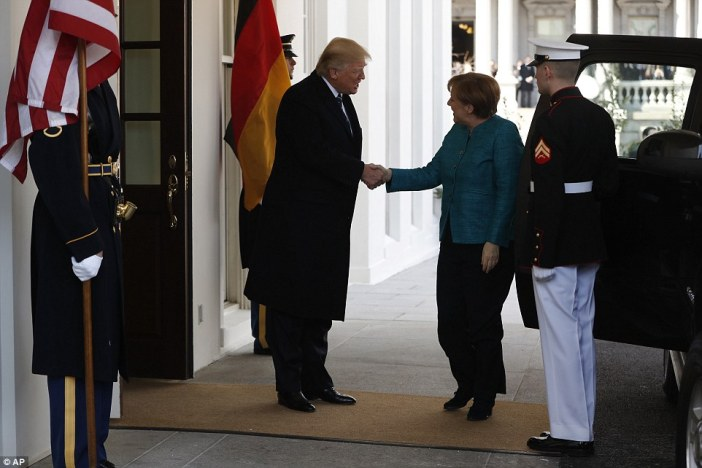 Merkel was scheduled to visit with Trump on Tuesday. A snowstorm forced them to postpone their plans to today