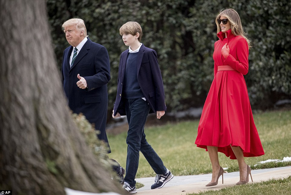 Visiting dad: Barron Trump was at the White House on Friday (above) for the first first time since the weekend of President Trump's inauguration in January