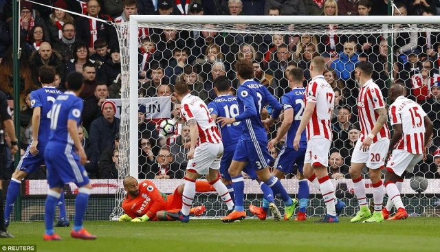 Chelsea took an early lead when Stoke goalkeeper Lee Grant failed to keep out a speculative free-kick from Willian