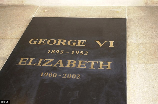 The entrance to the vault in St George's Chapel, Windsor, where Queen Elizabeth, the Queen Mother was intered Tuesday April 10, 2002, after her funeral in Westminster Abbey. She was laid to rest alongside her husband, King George VI, who died in 1952