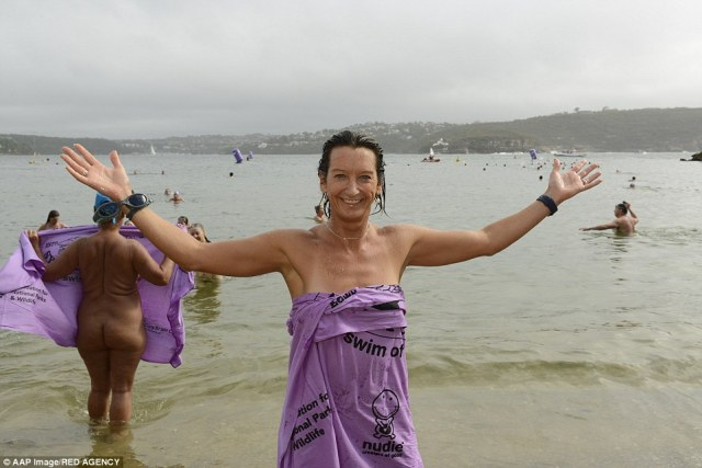 World Champion surfer Layne Beachley (pictured), who is an ambassador for the fundraising event, was pictured in the water on Sunday