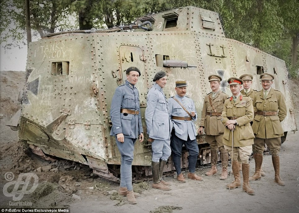 French and British soldiers stand around a German A7V tank captured at Villers-Brettoneux in May 1918. The French artillery fired more than 330,000,000 shells during the First World War, which is more than 210,000 rounds each day
