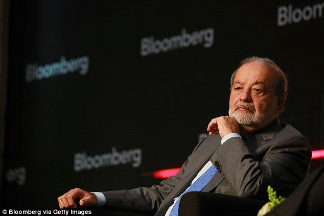 Carlos Slim (pictured during a Bloomberg Summit in Mexico City on December 1, 2016) was sixth on Forbes' list with an estimated worth of $54.5billion