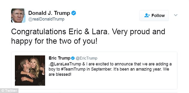 Proud grandfather: President Donald Trump congratulated Eric and Lara on Twitter. This will be his ninth grandchild