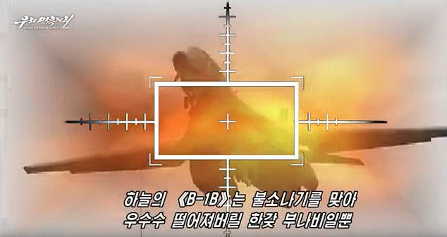 The military propaganda video shows North Korean troops targeting American planes