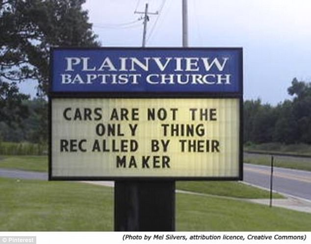 This church sign had a grim but humorous warning to motorists along this highway