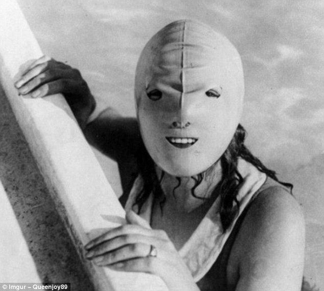 This somewhat alarming swimming mask was devised to protect women's faces from the sun in the 1920s