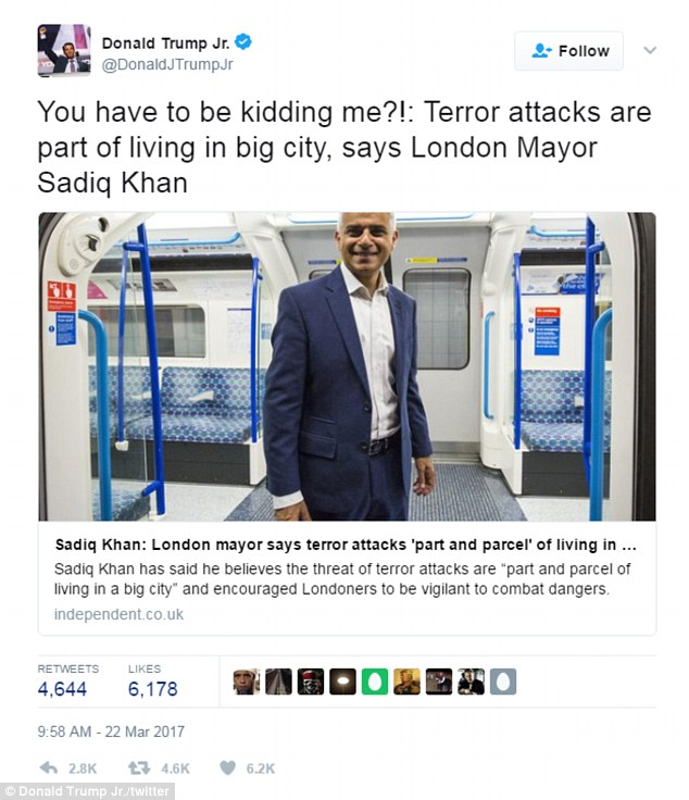 Donald Trump Jr reacted to the London terror attack on Wednesday by tweeting a criticism of Mayor Sadiq Khan