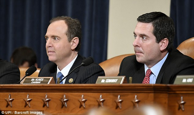 HAPPIER TIMES? Chairman Devin Nunes of California (R) and Ranking Member Adam Schiff listen to testimony during hearings on Russia's involvement in the 2016 Presidential Election and alleged hacking allegations during a House Intelligence Committee hearing Monday