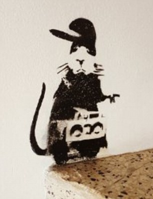 This rat is one of 11 stencils left as a gift at a Caribbean hotel but was painted over by builders doing maintenance work