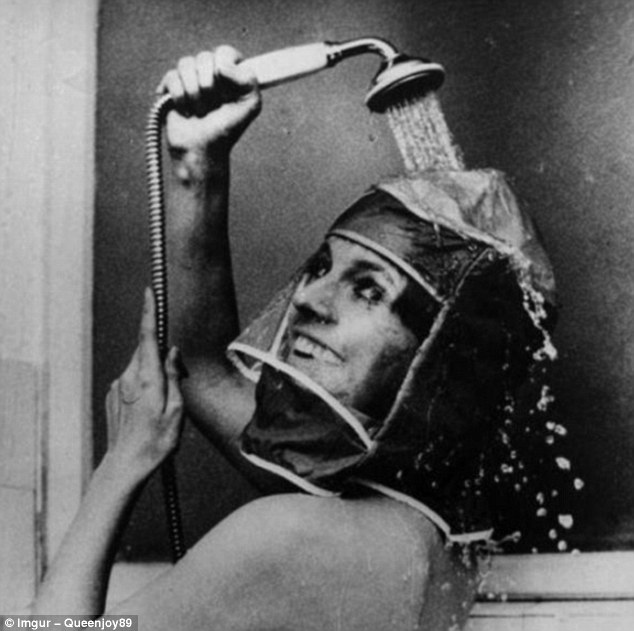 This fetching headgear from the 1970s was designed so that women could do their hair and make-up before showering - although why is another matter