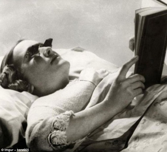 These Hamblin glasses were invented in 1936 and were designed to make it easier for people to read in bed. The words from the page were beamed to the reader's eyes using mirrors so the reader could lie on their back and not have to strain their neck