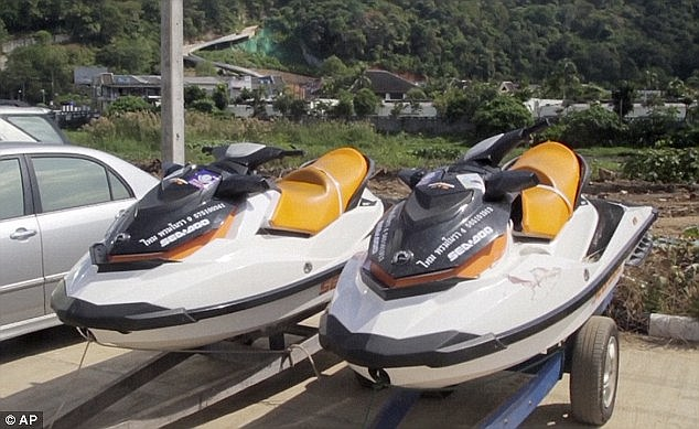 Pictured are jet skis similar to those believed to have been ridden by the pair at the time of the incident. Keating is free to leave Thailand and is expected to fly home in the coming days