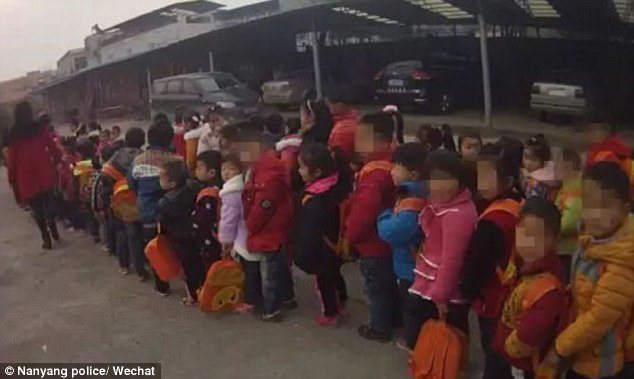 The school children were lining up outside a car park after being offloaded from an overloaded van