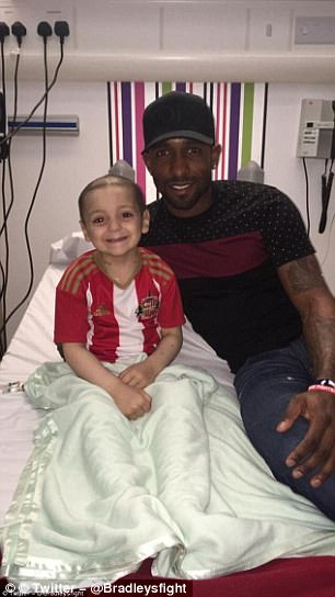 Defoe and his Sunderland team-mates came to visit the young fan