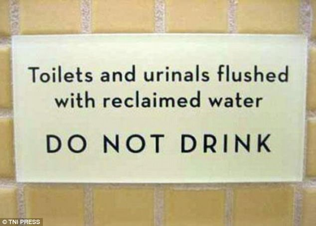 It may not cross your mind to drink from the toilet this establishment has seen it happen frequently enough to make a sign