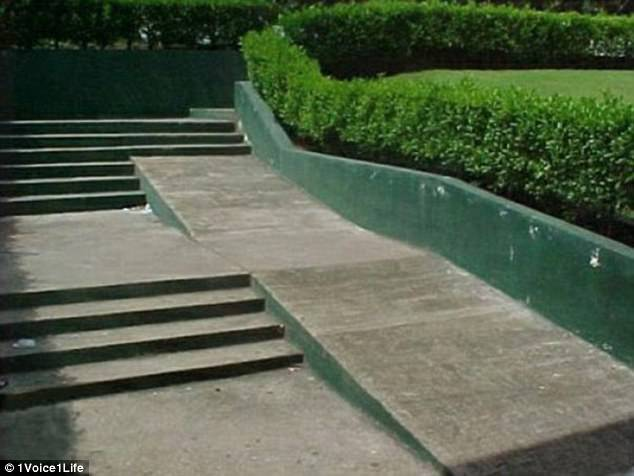 How any wheelchair user is meant to get up this concrete ramp with steps at the end remains a mystery