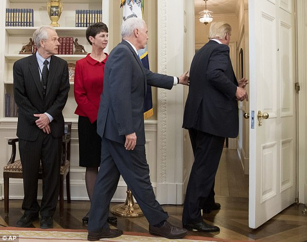 President Donald Trump had an apparent glitch Friday when he walked out of the Oval Office before signing a pair of new trade executive orders. Vice president Mike Pence was spotted rushing after Trump to remind him