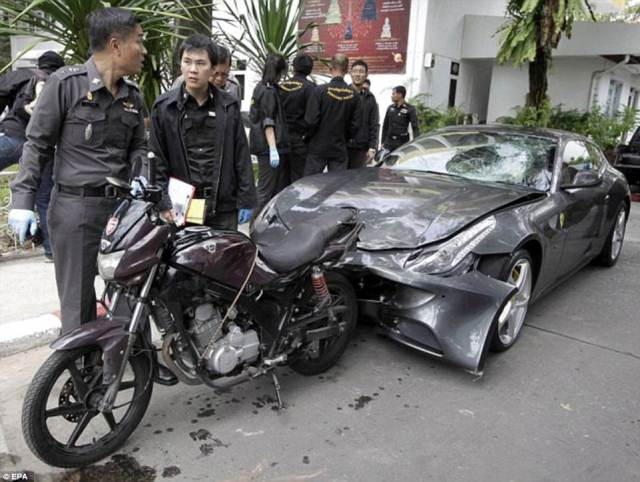 This picture shows the scene of the crash that allegedly saw Yoovidhya crash his Ferrari into a motorcycle police officer - killing him