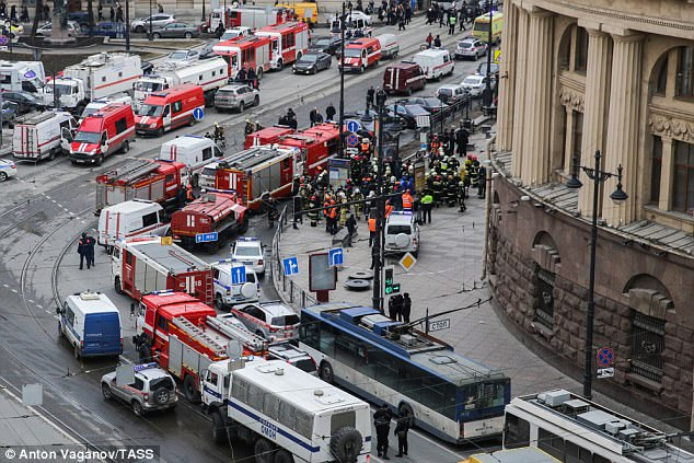 Emergency services outside the underground station where 14 died. But reporters on major news networks quickly moved to suggesting Putin could be to blame for the attack
