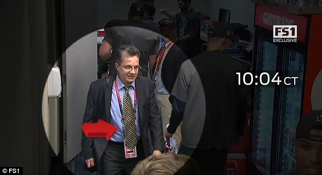 Ortega was seen leaving the Patriots locker room after the Super Bowl with something tucked under his arm