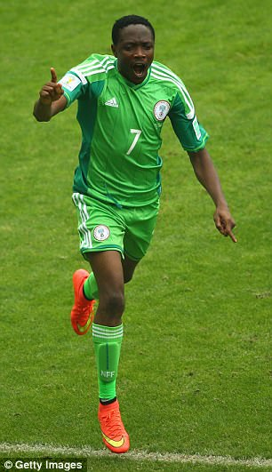 Ahmed Musa of Nigeria celebrates scoring his team's second goal and his second of the game during the 2014 FIFA World Cup Brazil Group F match between Nigeria and Argentina