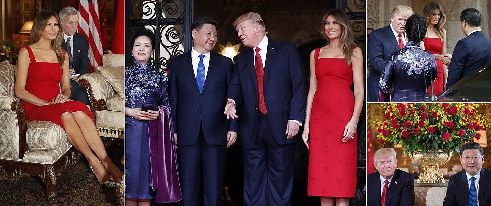 Trump greets Chinese leader and his wife at Mar-a-Lago