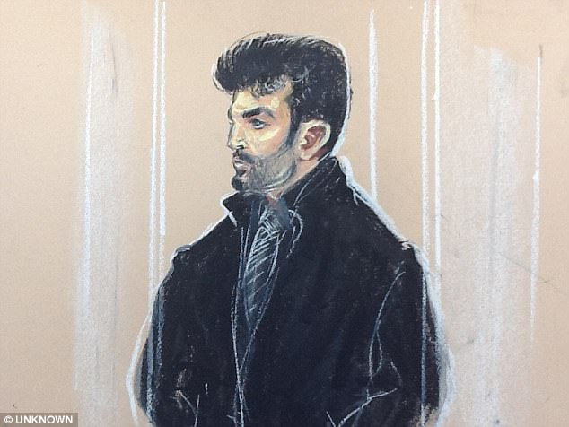 Dr Islam (pictured in a court sketch from 2012) stood trial on terror offences and allegedly belonged to the group that kidnapped British journalist John Cantlie