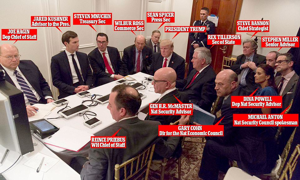 Image result for trump sits in a room in Mar-a-lago and watches his missiles hit Syria