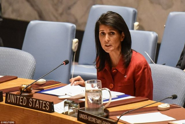 Officials said it was retaliation for Assad's use of chemical weapons and would 'deter' further atrocities. The US ambassador to the UN, Nikki Haley (above), said that her country had taken 'a very measured step'.She added: 'We are prepared to do more but we hope that will not be necessary'
