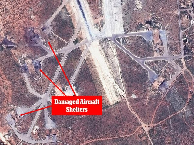 Destruction: These images show the extent of the destruction wrought on Syria'sal-Shayrat military airfield by US Tomahawk missiles on Thursday