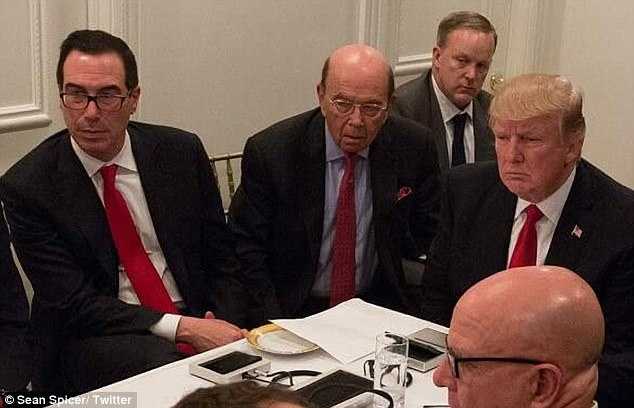 Tough deadline: Steven Mnuchin, the Treasury Secretary who was at the table when Trump was briefed on the Syria missile strikes, had set an the August deadline for tax reform