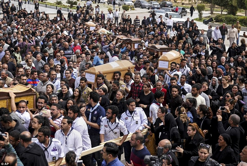 Hundreds gathered to pay their respects to those killed in the blast, in Alexandria. The explosion came hours after a bomb struck a Coptic church in Tanta, a nearby city in the Nile Delta, that took the lives of 28 and wounded nearly 80