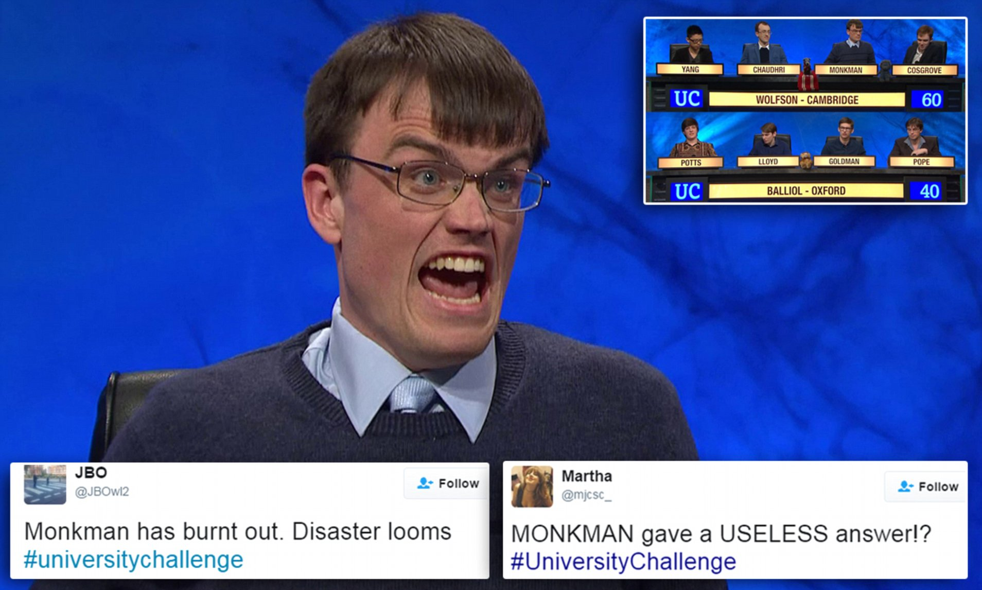 University Challenge Viewers Let Down By Eric Monkman Daily Mail