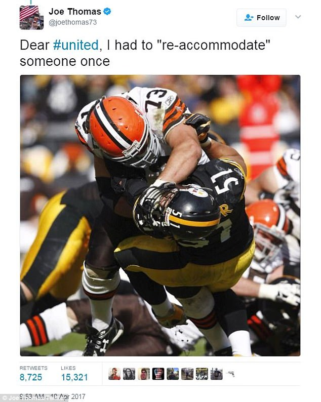 Cleveland Browns offensive lineman Joe Thomas joined in by mocking the airline's statement on Twitter, posting a photograph of himself 're-accommodating' an opponent during an NFL game