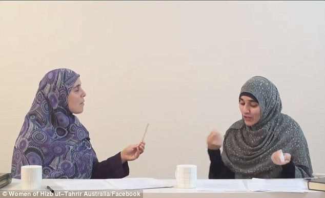 Sydney primary school teacher Reem Allouche (left) told the women's arm of hardline Islamist political group Hizb ut-Tahrir that men are permitted to hit women with sticks