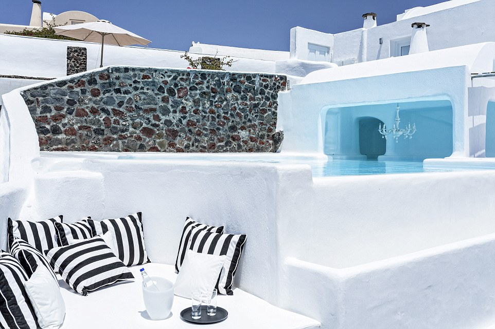 AtCanaves Oia guests are never far away from a pool - or a place to bask in the sun