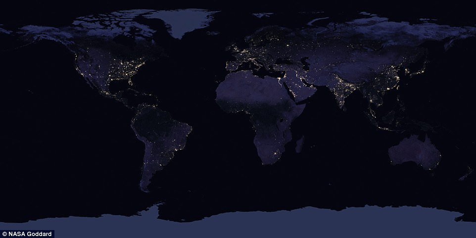 A view of Earth at night in 2016. The stunning composite image was taken by the Nasa-Noaa Suomi National Polar-orbiting Partnership (NPP) satellite