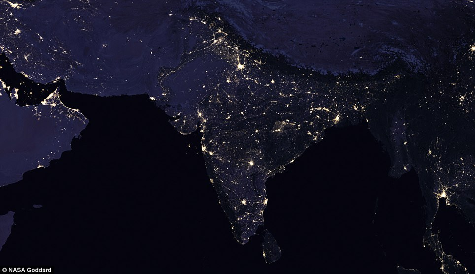 This before-and-after comparison shows nighttime views of India and surrounding areas in 2012 (pictured) and 2016 indicating that the country has gone through rapid development in just four years
