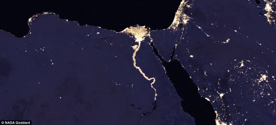 The Nile River and surrounding region at night 2016. The industrious settlements that surround the river make it appear as if its water runs a sparkling gold