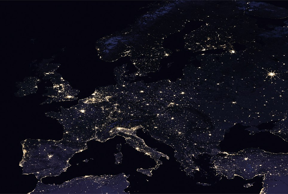 A view of Europe's 'night lights'. The continent's capital cities, including London (top left), Paris (just below) and Madrid (bottom left) stand out against the darkened landscape