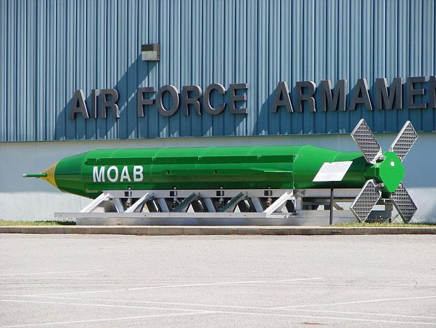 The military used a GBU-43 (pictured), which weighs a staggering 21,600 pounds, and has earned the moniker 'Mother Of All Bombs'