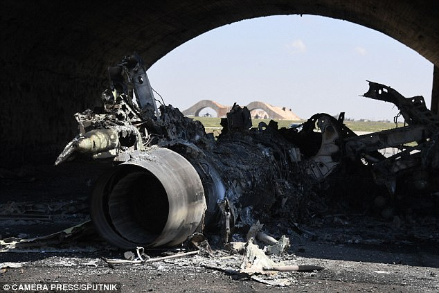 Tuesday's dreadful chemical attack was on the village of Khan Shaikhoun in northern Syria (pictured a Syrian military airbase afterwards)