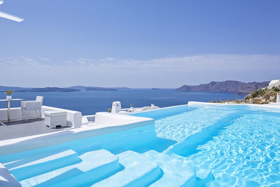 At the Canaves Oia Boutique Hotel in Santorini guests are treated to a view across the caldera that's simply stunning