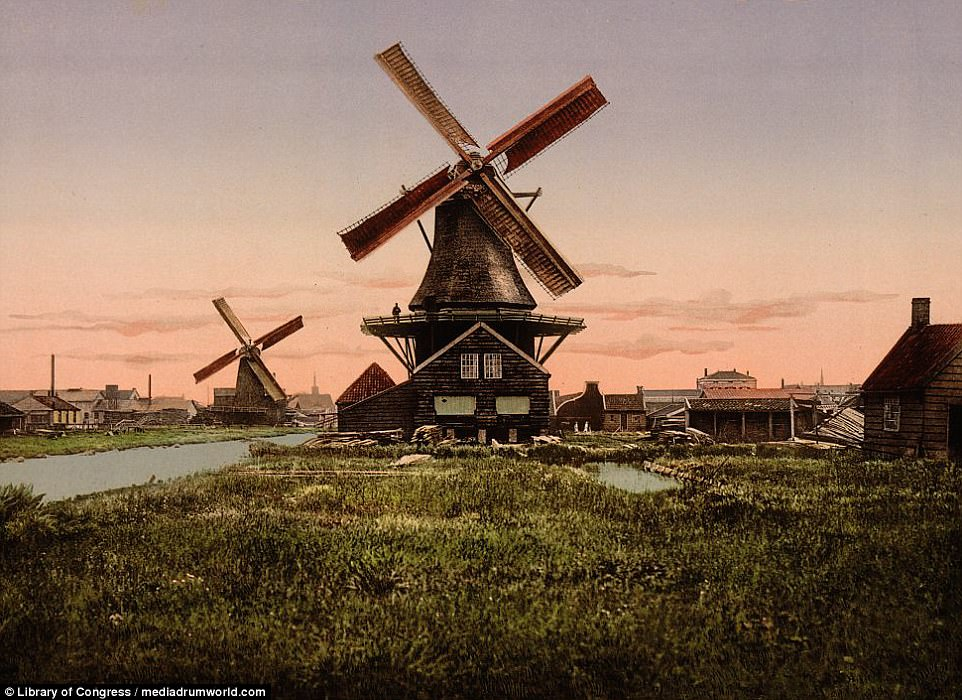 Windmills are synonymous with Holland and this picture shows two magnificent examples of them